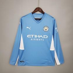 Camisa Manchester City Home 21/22 - Manga Longa