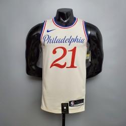 Camisa de Basquete Philadelphia 76ers 2021 - 21 EMBIID - Bege